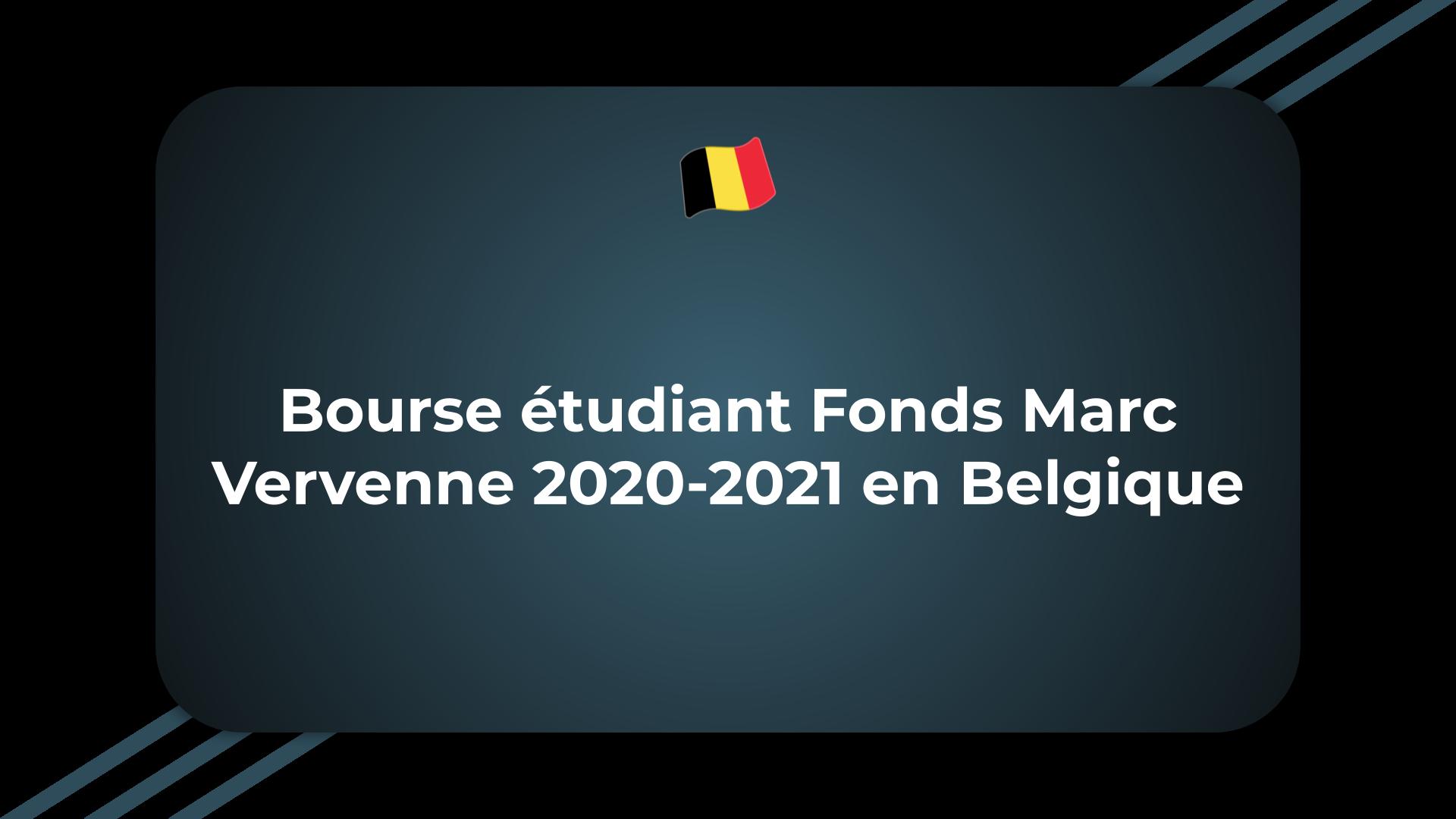 Bourse étudiant Fonds Marc Vervenne