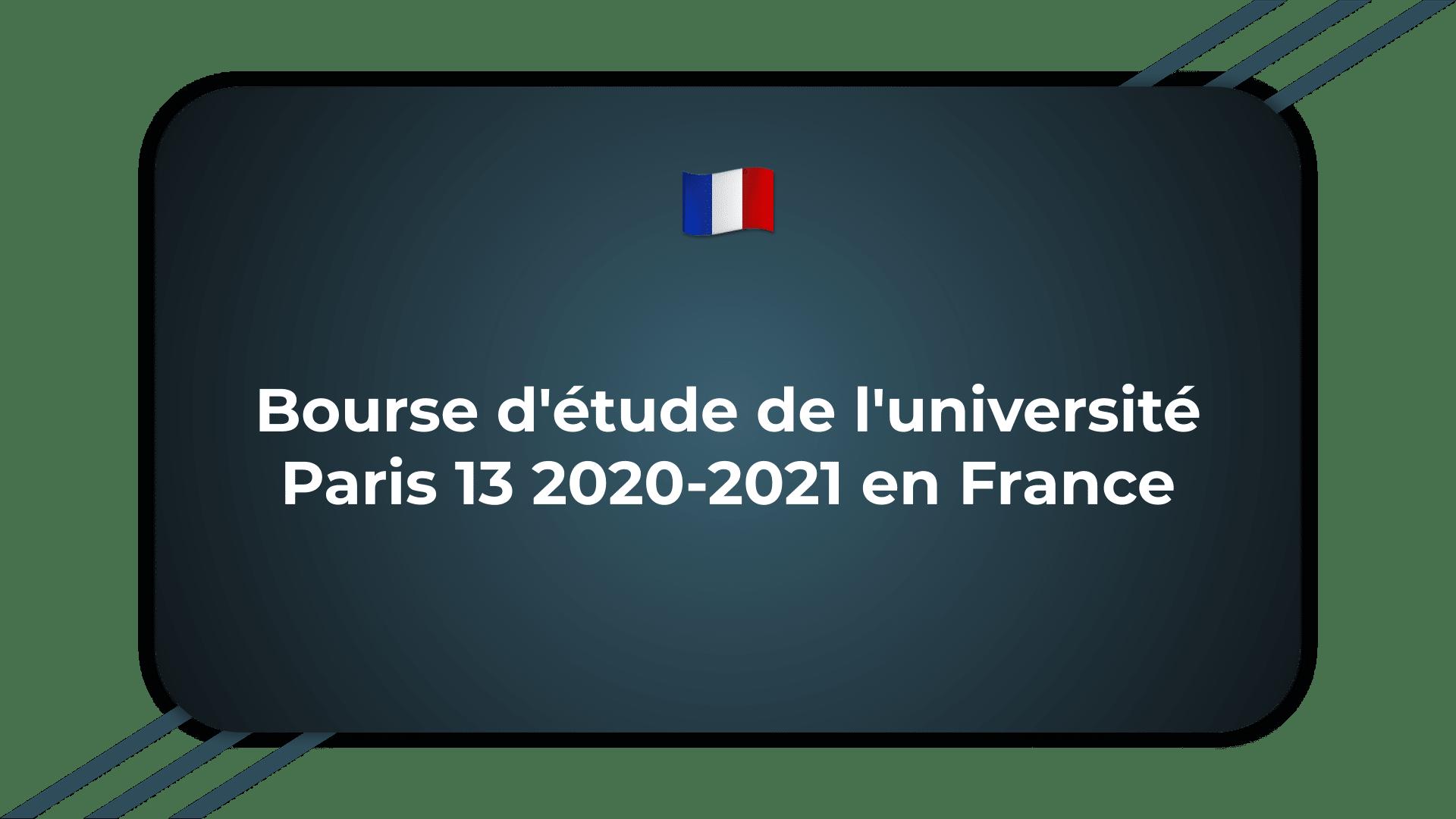 Bourse d'étude de l'université Paris 13